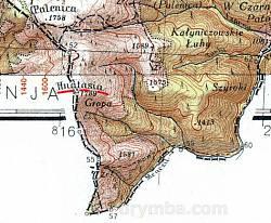 Гора Гнатася на польской карте WIG