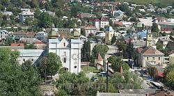 Теребовля. Вид на монастир кармелітів, ратушу та церкву св.Миколая із замку