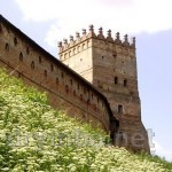Луцький замок. Фортечні стіни ззовні та надбрамна башта