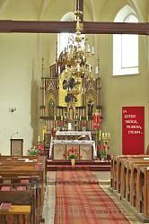 Жидачів. Вівтар костелу Успіння Пресвятої Богородиці
