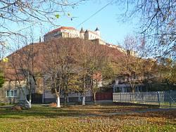 """Вид на замок """"Паланок"""" від підніжжя замкової гори"""