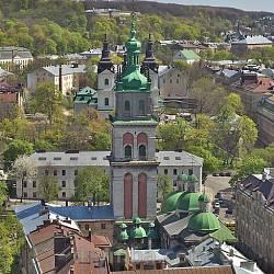Комплекс Успенской церкви во Львове. Вид с башни Ратуши