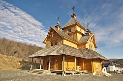 Унівська лавра. Нова дерев'яна церква св.Климентія і Леонтія