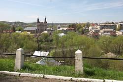 Збараж. Вид на бернардниський монастир з замкової гори