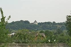 Вид із караїмського цвинтаря у Залукві на Галицький замок