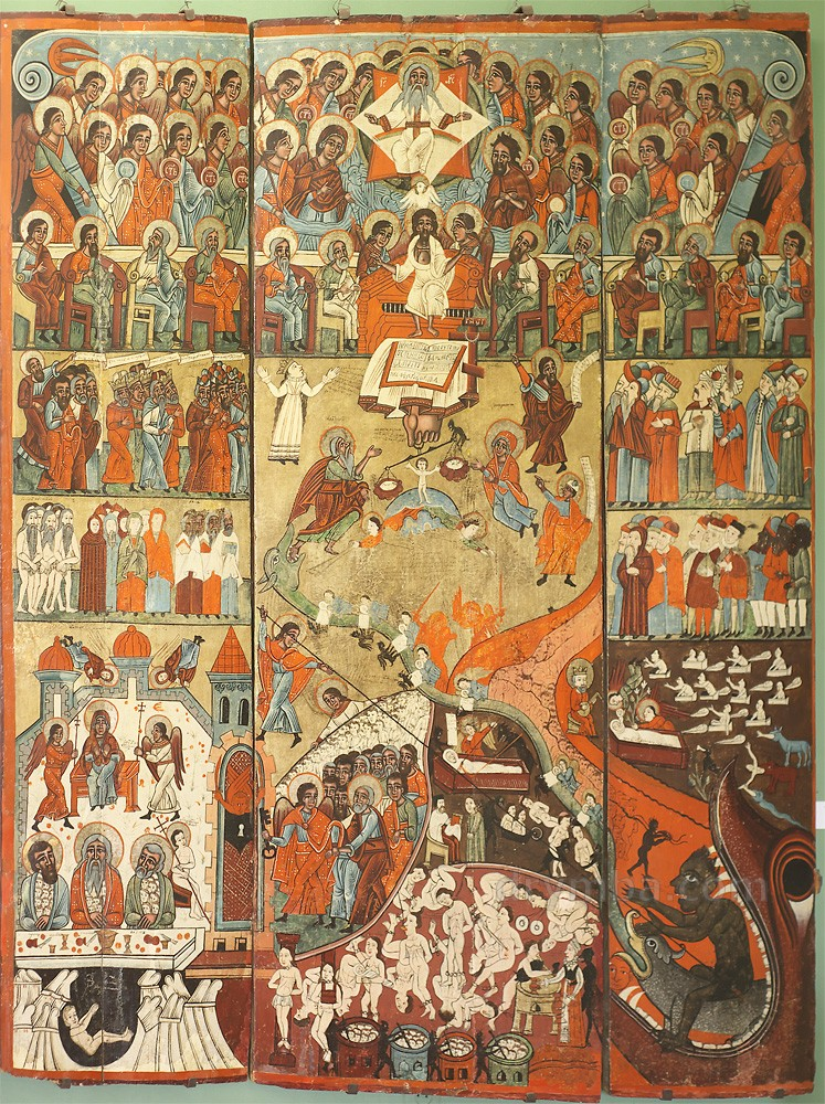 """Икона """"Страшный суд"""" (XVI века) в народном стиле"""