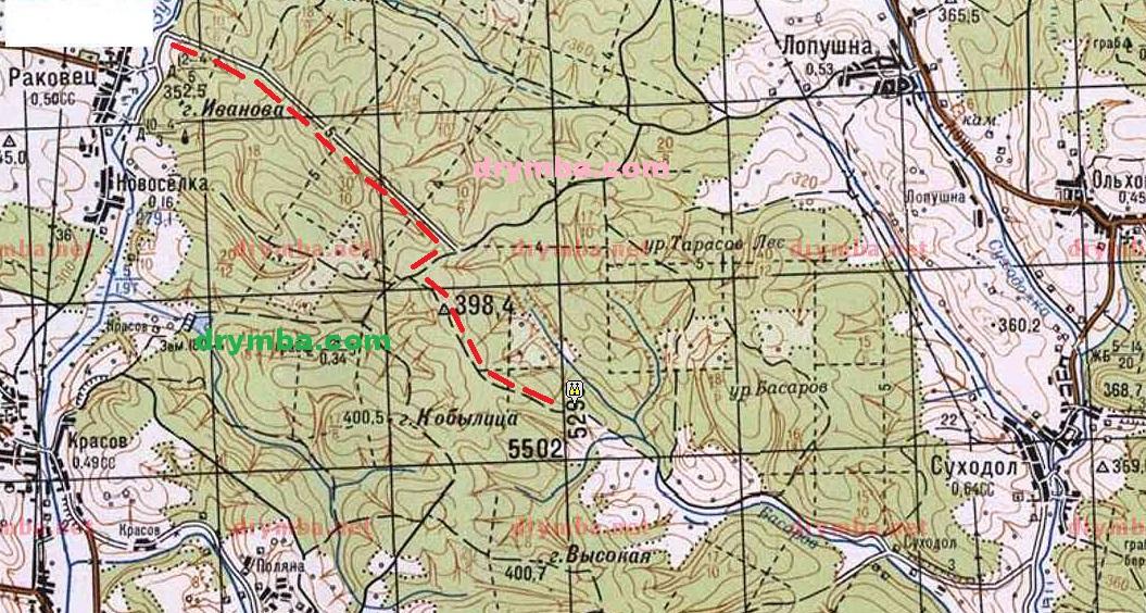 Схема маршруту до костелу неіснуючого села Гутисько