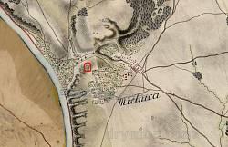 Мельницький замок на старій австрійській мапі Фон Міґа